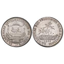 Potosi, Bolivia, 2 soles, 1855, Belzu renouncing presidency, PCGS MS63.