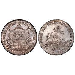 Potosi, Bolivia, 2 soles, 1855, Belzu renouncing presidency, PCGS MS64.