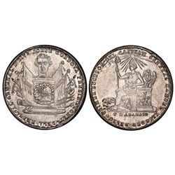 Potosi, Bolivia, piefort 2 soles, 1855, Cordova, medal axis, PCGS UNC details / damage.