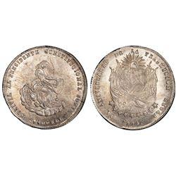 Bolivia, 2 soles, 1856, Cordova's first anniversary / Constitution, PCGS MS62.