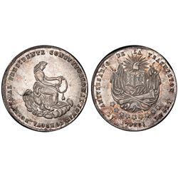Bolivia, 2 soles, 1856, Cordova's first anniversary / Constitution, PCGS AU55.