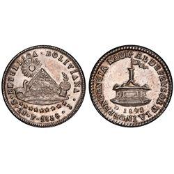 Potosi, Bolivia, 1 sol, 1856, 1-scudo obv / 1841 Ingavi rev, PCGS MS62.