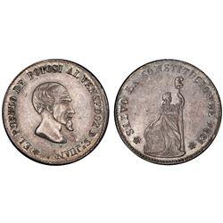 Potosi, Bolivia, 1/2 peso, 1861, Acha / Liberty, PCGS AU55.