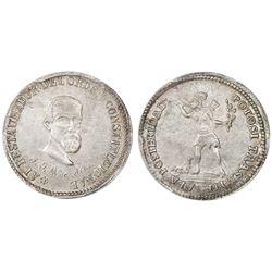 Potosi, Bolivia, 1/4 peso, (1863), Acha / native (Ingavi), PCGS AU58.