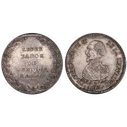 Potosi, Bolivia, 1/4 peso, 1863, Cundinamarca / Acha, PCGS AU58.