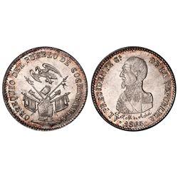 Potosi, Bolivia, 1/4 peso, 1863, Acha / condor over armor (Cochabamba issue), PCGS MS63.