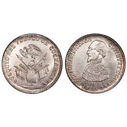 Potosi, Bolivia, 1/4 peso, (1863), Acha / condor over armor (Cochabamba issue), PCGS MS63.