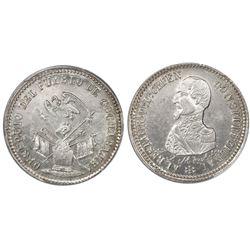 Potosi, Bolivia, piefort 1/4 peso, (1863), Acha / condor over armor (Cochabamba issue), PCGS MS62.