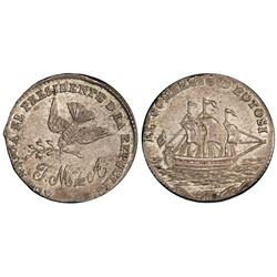 Potosi, Bolivia, 1/8 peso(?), (ca. 1863), Acha / dove / ship, PCGS AU58.
