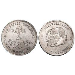 Potosi, Bolivia, 1/2 melgarejo, 1865, PCGS AU55.