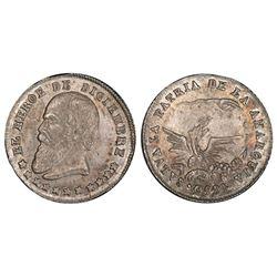 Potosi, Bolivia, 1/16 melgarejo, 1865, PCGS MS62.