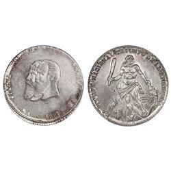 Potosi, Bolivia, 1/2 melgarejo, 1866/5, Melgarejo and Munoz / Hercules, PCGS AU55.