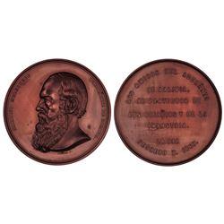 La Paz, Bolivia, bronze 5 melgarejos, 1867, science and industry, PCGS SP64 BN.