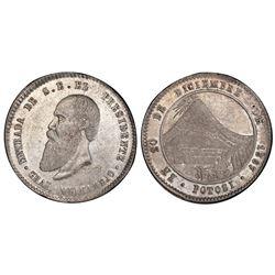 Potosi, Bolivia, 1/2 melgarejo, 1867, PCGS AU58.