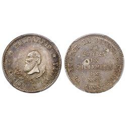 Potosi, Bolivia, 1/4 melgarejo, 1868, PCGS AU53.