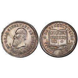 Potosi, Bolivia, 1/8 melgarejo, 1868, Constitution, PCGS AU55.