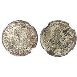 Potosi, Bolivia, 1/2-sol monetary medal, 1854, Belzu, NGC MS 61, ex-Cotoca (stated on label).