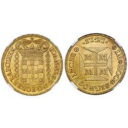 Brazil (Minas mint), gold dobrao (20000 reis), Joao V, 1727-M, NGC AU details / rev spot removed.