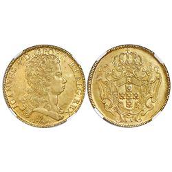 Brazil (Minas mint), gold dobra (12800 reis), Joao V, 1732-M, NGC AU 58.
