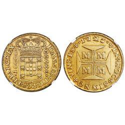 Brazil (Minas mint), gold 1/2 dobrao (10000 reis), Joao V, 1725-M, NGC AU 55.