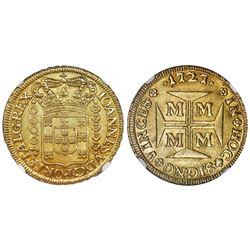 Brazil (Minas mint), gold 1/2 dobrao (10000 reis), Joao V, 1727-M, NGC MS 63.