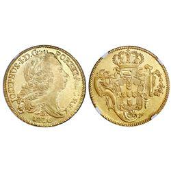 Brazil (Bahia mint), gold peca (6400 reis), Jose I, 1776-B, NGC AU 58.