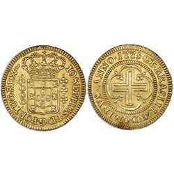 Brazil (Lisbon mint), gold moeda (4000 reis), Jose I, 1775, IOSEPHUS, large crown, coin axis.