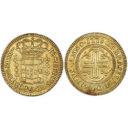 Brazil (Lisbon mint), gold moeda (4000 reis), Jose I, 1775, IOSEPHUS, large crown, coin axis.