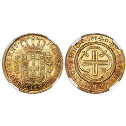 Brazil (Rio mint), gold moeda (4000 reis), Joao Prince Regent, 1812 with date as 181.2 (rare), NGC M