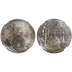 Brazil (Minas Gerais), 960 reis counterstamp (1809) on a Potosi, Bolivia, bust 8 reales, Charles IV,