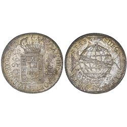 Brazil (Rio mint), 960 reis, Joao Prince Regent, 1817-R, struck over a Spanish colonial bust 8R of C