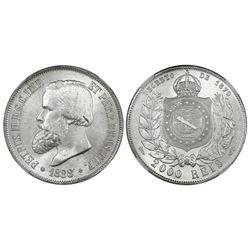 Brazil, 2000 reis, Pedro II, 1888, NGC MS 64.