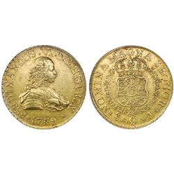 Santiago, Chile, bust gold 8 escudos, Ferdinand VI, 1759J, FERDINANDUS, NGC AU 53.
