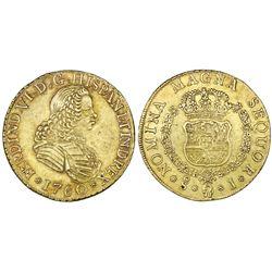 Santiago, Chile, bust gold 8 escudos, Ferdinand VI, 1760J.