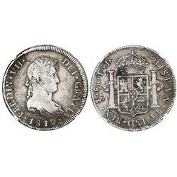 Santiago, Chile, bust 8 reales, Ferdinand VII, 1812FJ, NGC F 15.