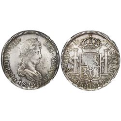 Santiago, Chile, bust 8 reales, Ferdinand VII, 1814FJ, NGC XF details / rev damage.