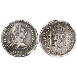 Santiago, Chile, bust 1 real, Charles IV transitional (bust of Charles III, ordinal IIII), 1791DA, N