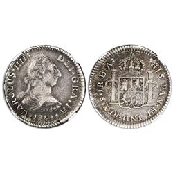 Santiago, Chile, bust 1 real, Charles IV transitional (bust of Charles III, ordinal IIII), 1791DA, N