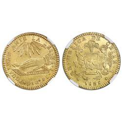 Santiago, Chile, gold 2 escudos, 1838IJ, NGC MS 63.