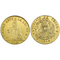 Santiago, Chile, gold 8 escudos, 1849ML (December).