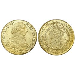 Bogota, Colombia, bust gold 8 escudos, Charles III, 1776JJ, no dot between J's, NGC AU 53.