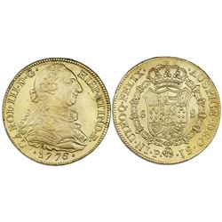 Popayan, Colombia, bust gold 8 escudos, Charles III, 1776JS, no dot between J's.