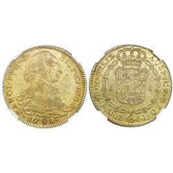 Bogota, Colombia, bust gold 8 escudos, Charles IV transitional (bust of Charles III, ordinal IV), 17