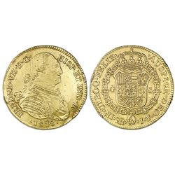 Bogota, Colombia, bust gold 4 escudos, Ferdinand VII (bust of Charles IV), 1818JF.