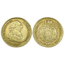 Bogota, Colombia, bust gold 2 escudos, Charles III, 1781JJ, dot between J's.
