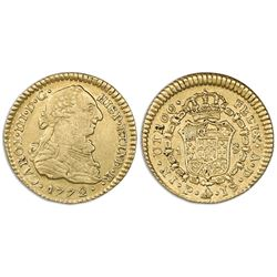 Popayan, Colombia, bust gold 1 escudo, Charles III, 1772JS, dot between J and S.