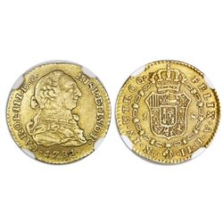 Bogota, Colombia, bust gold 1 escudo, Charles III, 1781JJ, dot between J's, NGC XF 45.