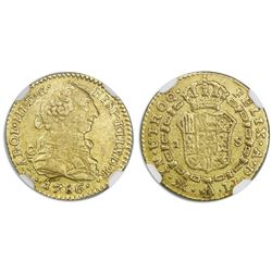 Bogota, Colombia, bust gold 1 escudo, Charles III, 1786JJ, dot between J's, rare, NGC XF 45.