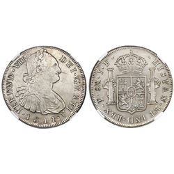 Popayan, Colombia, bust 8 reales, Ferdinand VII (bust of Charles IV), 1811JF, NGC XF details / clean