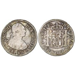 Popayan, Colombia, bust 2 reales, Ferdinand VII (bust of Charles IV), 1810JF.